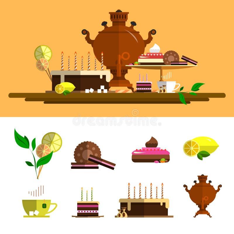 Tradycyjna herbaciana ceremonia z samowarem Wektorowe ikony Ustawiać w mieszkanie stylu Projektuje elementy, filiżanka, tort, cze ilustracja wektor