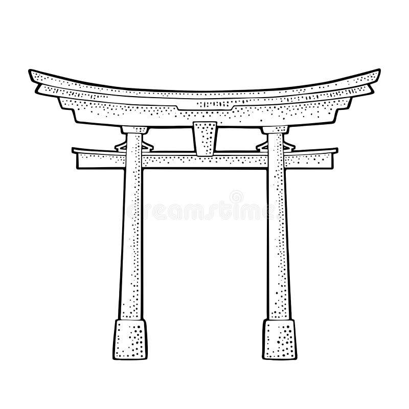 Tradycyjna japońska torii brama w Japonia Rocznika czarny wektorowy rytownictwo royalty ilustracja