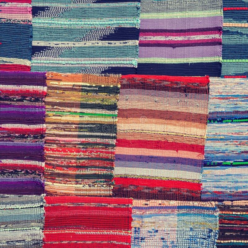 Tradycyjna kolorowa dywanik tkanina zdjęcie stock