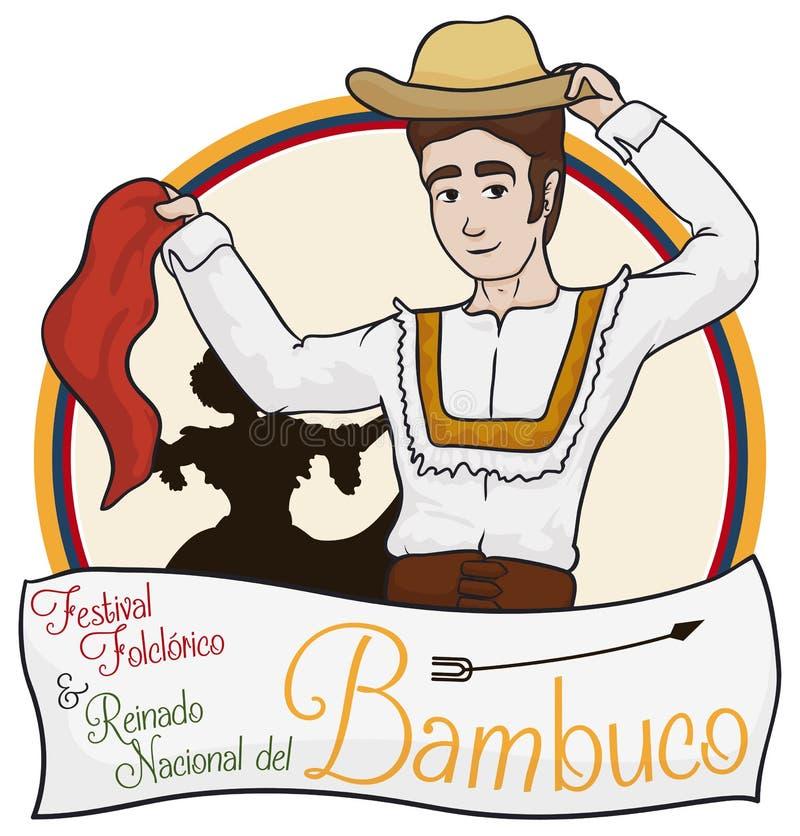 Tradycyjna Kolumbijska para Tanczy Bambuco z powitanie etykietką, Wektorowa ilustracja ilustracja wektor