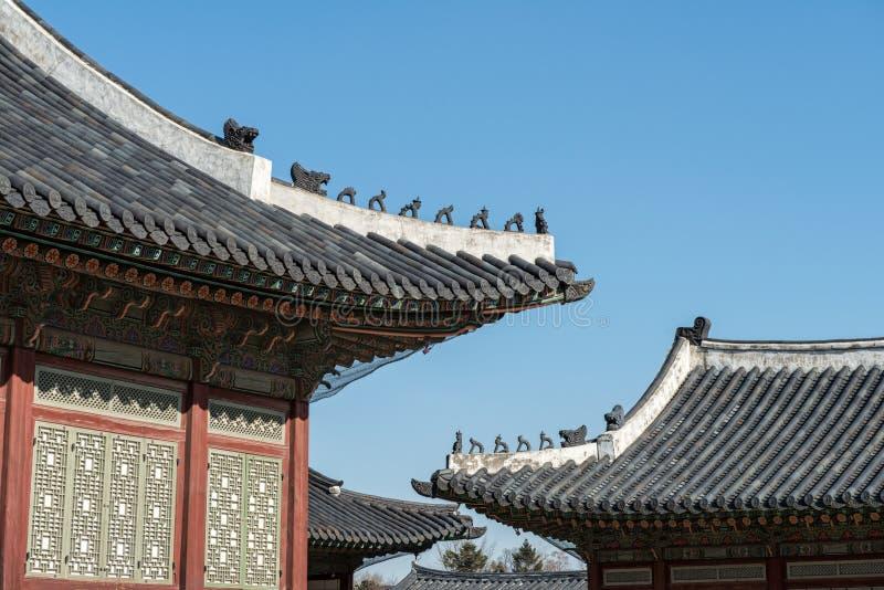 Tradycyjna Korea dachu dekoracja obraz stock