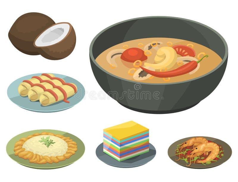 Tradycyjna Krajowa tajlandzka karmowa Thailand azjata talerza kuchni owoce morza krewetka royalty ilustracja