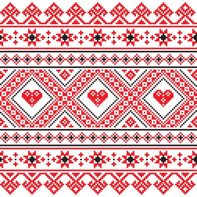 Tradycyjna ludowa sztuka dział czerwonego broderia wzór od Ukraina royalty ilustracja