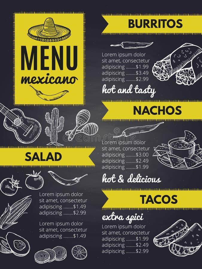 Tradycyjna Meksykańska kuchnia Projekta szablon restauracyjny menu royalty ilustracja