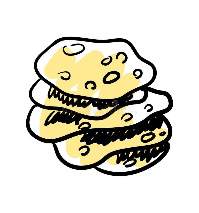 Tradycyjna meksykańska ręka rysująca tortilla ikona royalty ilustracja
