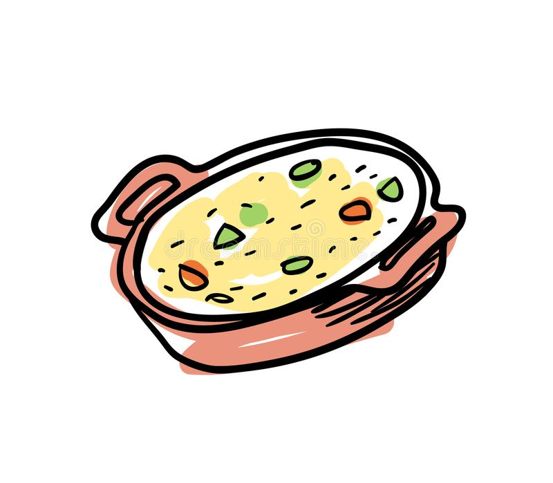 Tradycyjna meksykańska zupna ręka rysująca ikona ilustracji