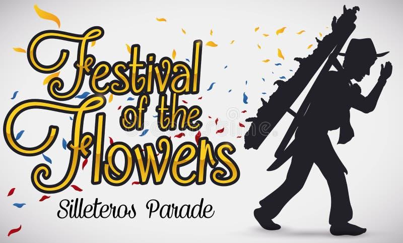 Tradycyjna Silletero sylwetka, płatki dla Kolumbijskiego kwiatu festiwalu i, Wektorowa ilustracja royalty ilustracja