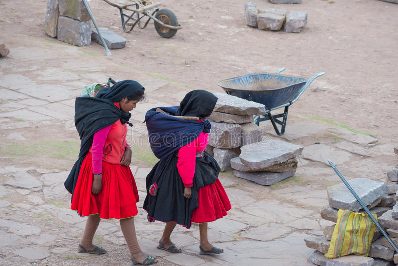 Tradycyjna społeczność Taquile, Titicaca jezioro, Peru obraz royalty free