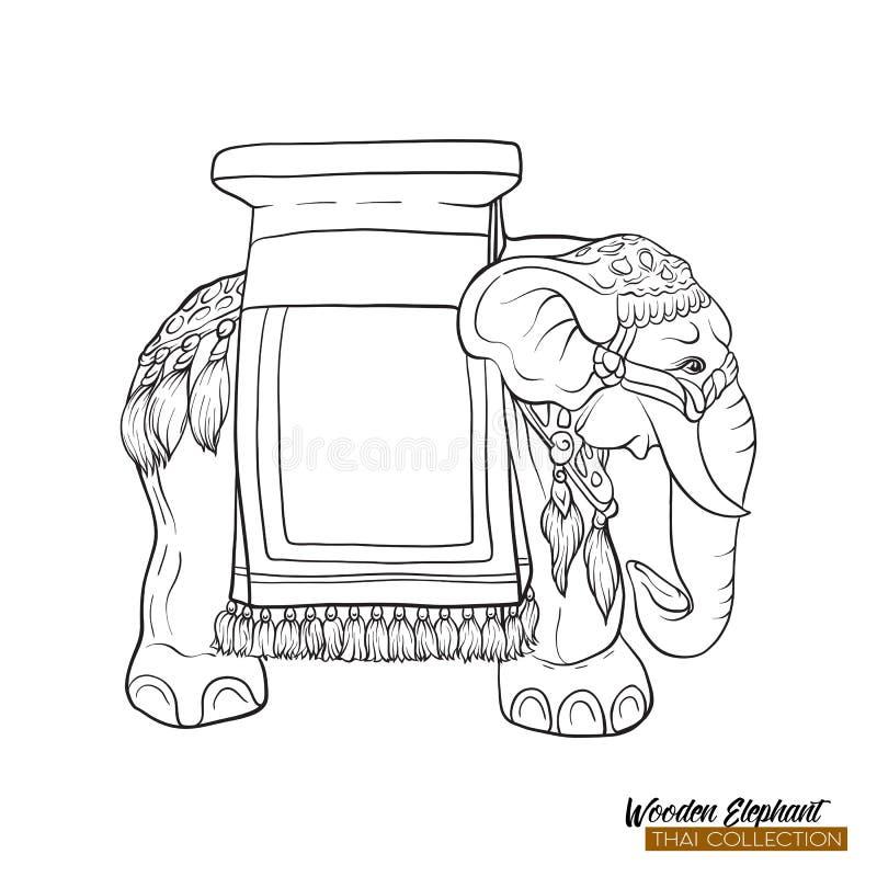 Tradycyjna Tajlandzka pamiątka - drewniany słoń Kontur ręki drawin royalty ilustracja