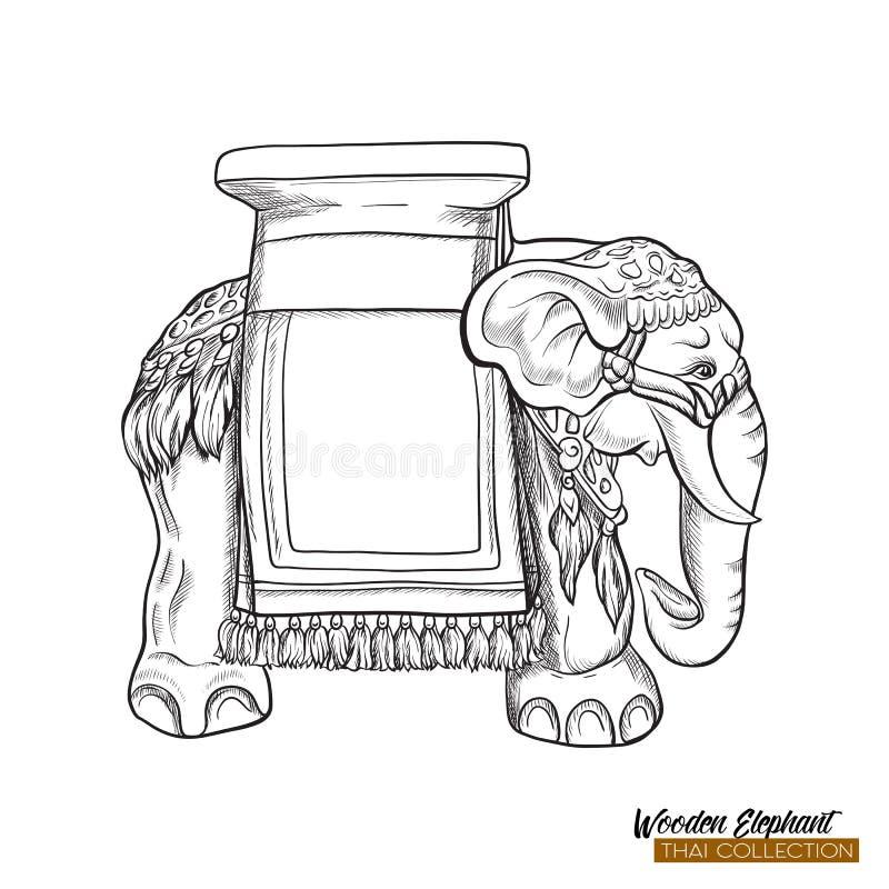 Tradycyjna Tajlandzka pamiątka - drewniany słoń tła jaskrawy ilustracyjny pomarańcze zapas ilustracji