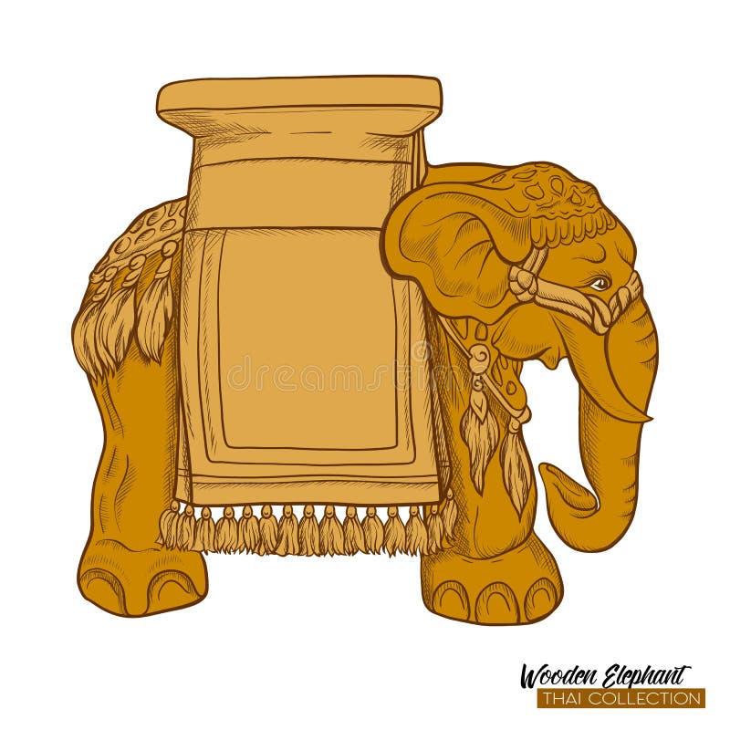 Tradycyjna Tajlandzka pamiątka - drewniany słoń tła jaskrawy ilustracyjny pomarańcze zapas royalty ilustracja