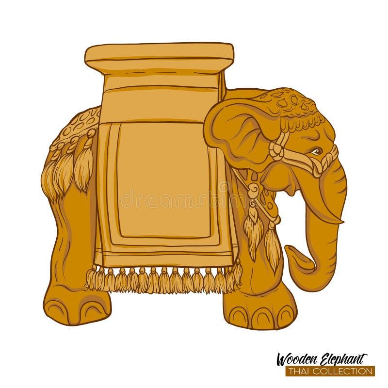 Tradycyjna Tajlandzka pamiątka - drewniany słoń tła jaskrawy ilustracyjny pomarańcze zapas ilustracja wektor