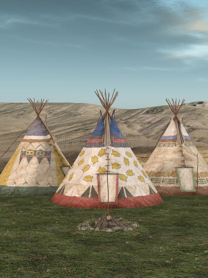 tradycyjna teepee wioska royalty ilustracja
