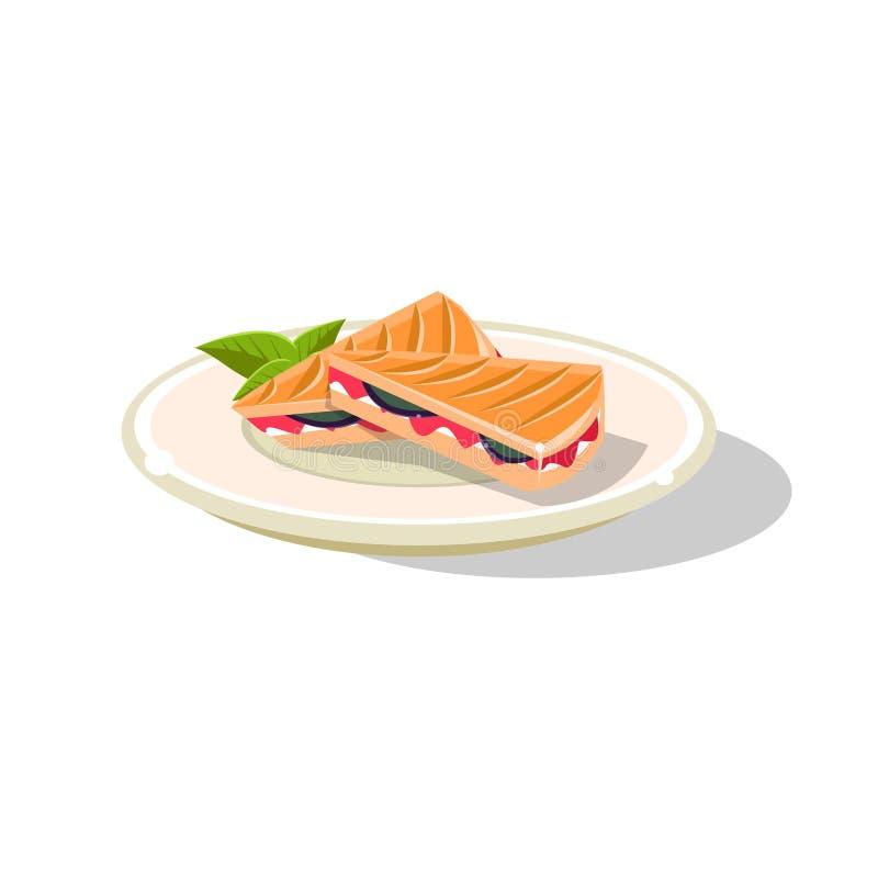 Tradycyjna Włoska kanapka ilustracja wektor