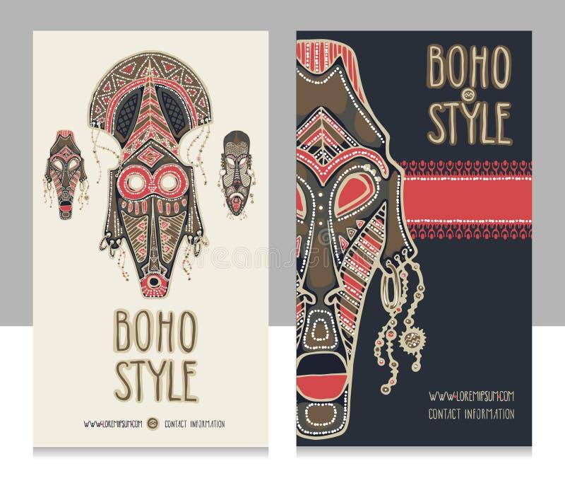 Tradycyjne afrykanin maski Etniczny styl karty szablon, boho sklep, wizytówki zdjęcia royalty free