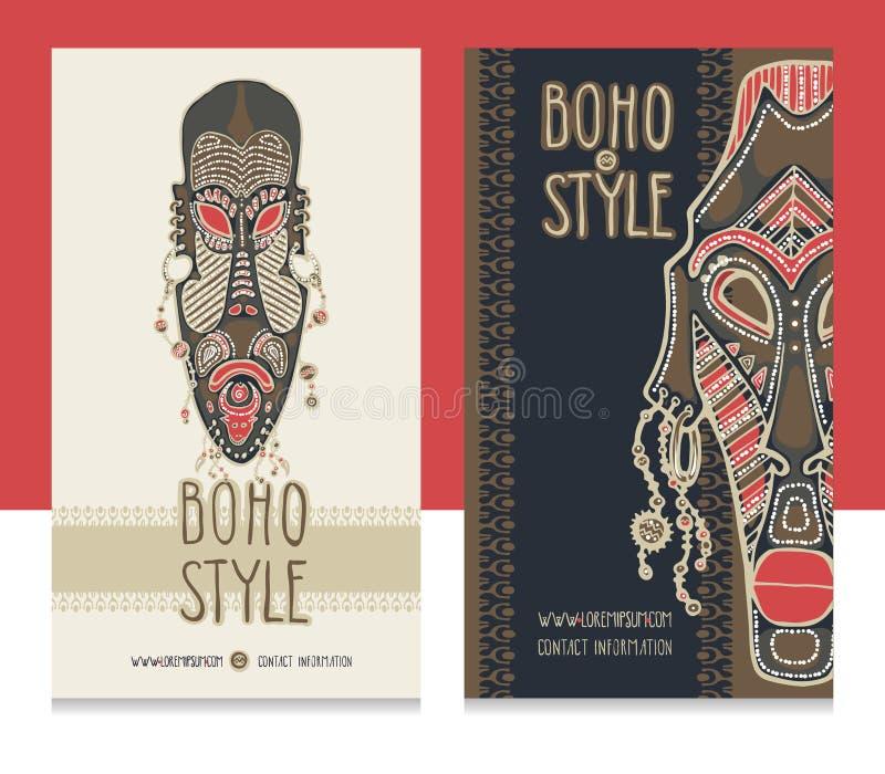Tradycyjne afrykanin maski Etniczny styl karty szablon, boho sklep, wizytówki zdjęcie royalty free