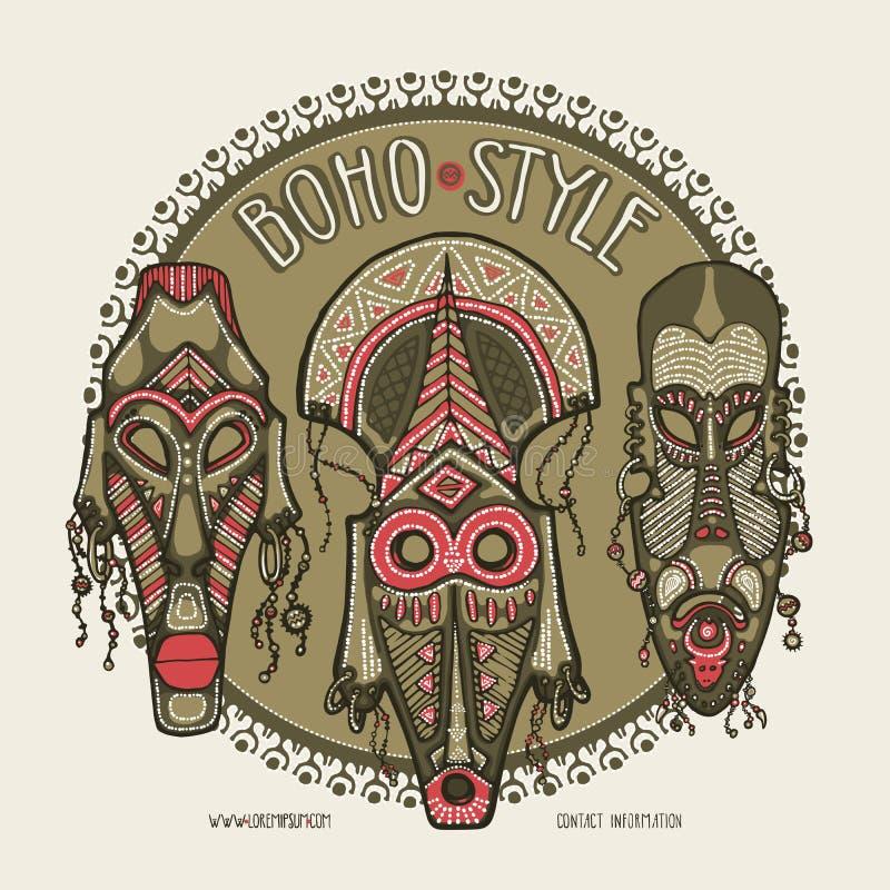 Tradycyjne afrykanin maski Etniczny styl karty szablon, boho sklep, wizytówki zdjęcie stock