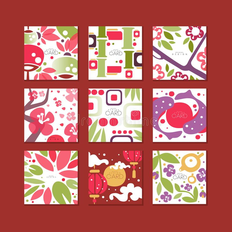 Tradycyjne azjatykcie deseniowe karty, oryginalny projekt, dekoracyjnej szablon tekstury kolorowe wektorowe ilustracje royalty ilustracja