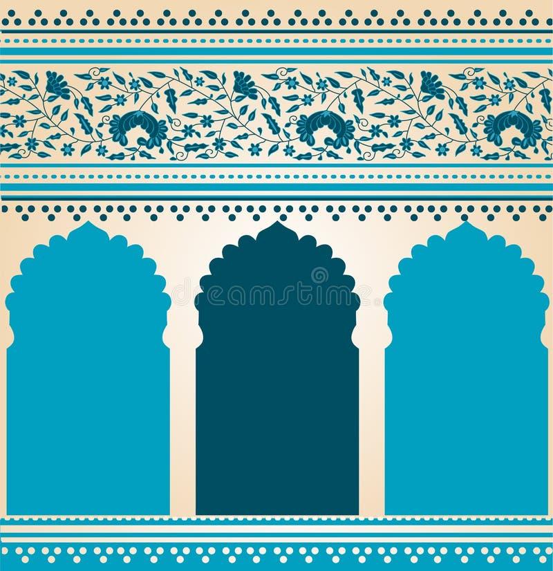 Tradycyjnego błękitnego Indiańskiego saree świątynny projekt ilustracji