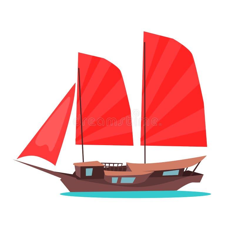 Tradycyjnego Drewnianego dżonka statku Płaska Wektorowa ikona royalty ilustracja