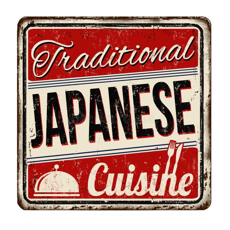 Tradycyjnego japońskiego kuchnia rocznika metalu ośniedziały znak ilustracji
