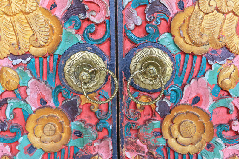 Tradycyjnego Kolorowego balijczyka stylu Drzwiowa gałeczka, Indonezja fotografia stock