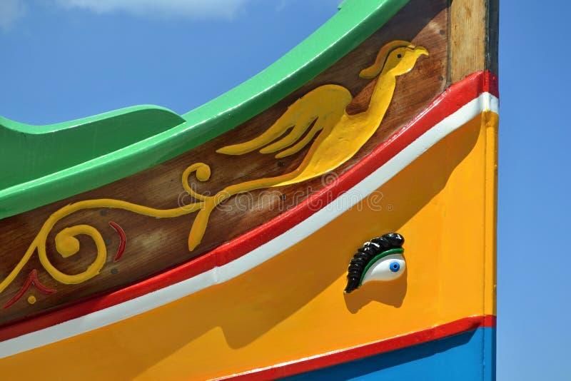 Tradycyjnego luzzu łódkowaty szczegół, Malta zdjęcie stock