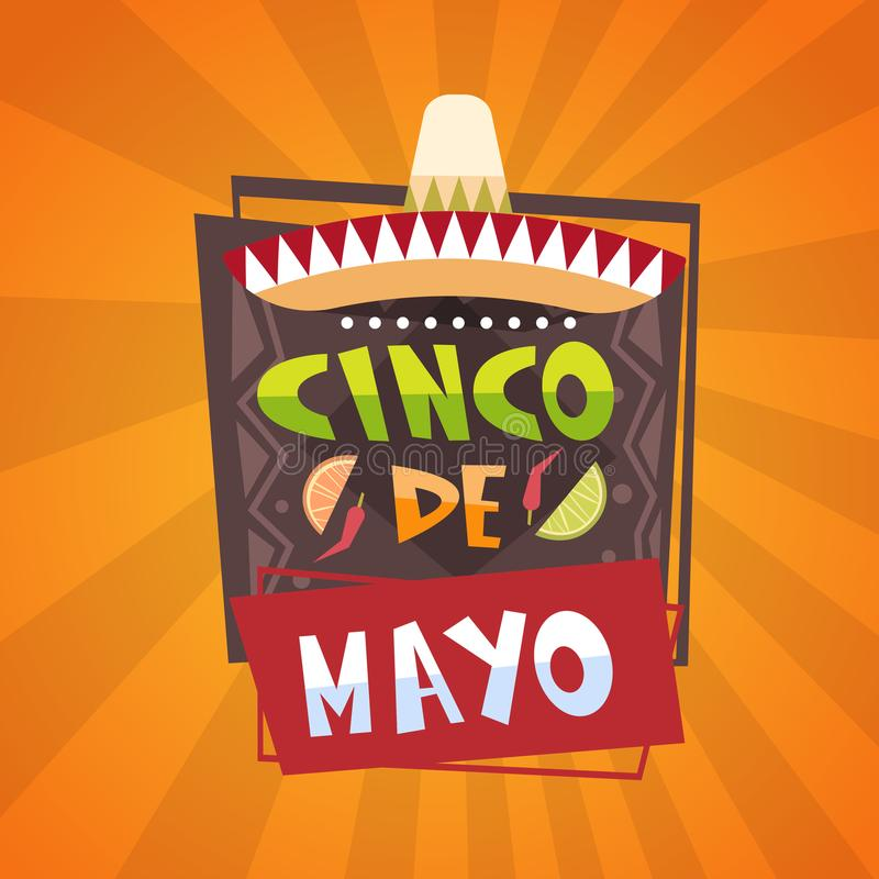 Tradycyjnego Meksykańskiego festiwalu Cinco De Mayo kartka z pozdrowieniami Plakatowy Wakacyjny projekt royalty ilustracja
