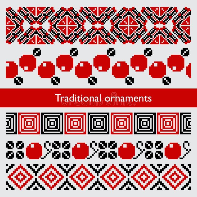 Tradycyjnego piksla bezszwowi ornamenty hafciarscy ilustracji