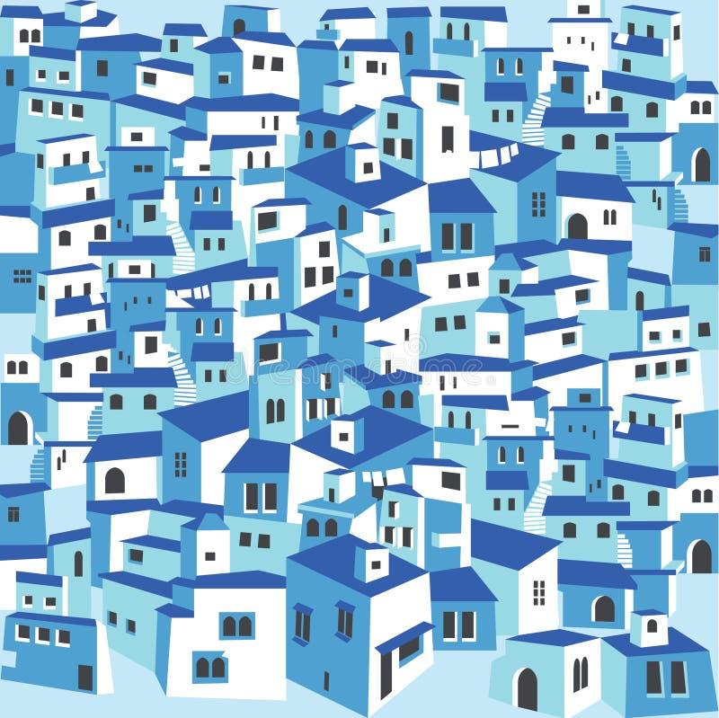 Tradycyjnej greckiej wyspy wioski grodzki biel mieści błękitnych dachy ilustracja wektor