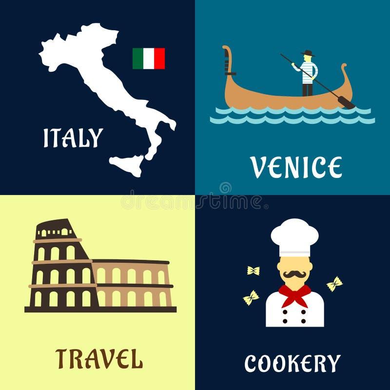 Tradycyjnej podróży włoskie płaskie ikony ilustracja wektor