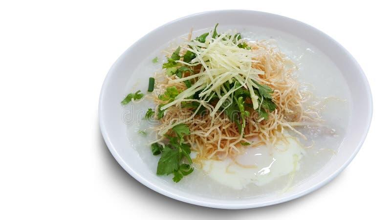 Tradycyjnej tajlandzkiej owsianki ryżowy kleik w pucharze, congee zdjęcie royalty free