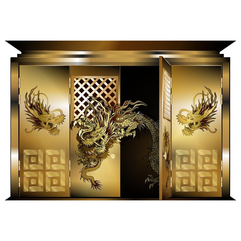 Tradycyjnej wschodniej bramy złociści smoki otwierali drzwi i smoka ilustracja wektor