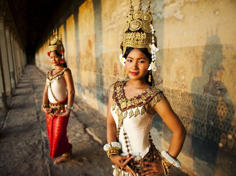 Tradycyjni aspara tancerze, Siem Przeprowadzają żniwa, Kambodża fotografia royalty free