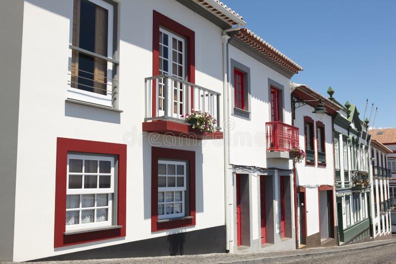 Tradycyjni Azores uliczni w Angra robią Heroismo Terceira wyspa obraz royalty free