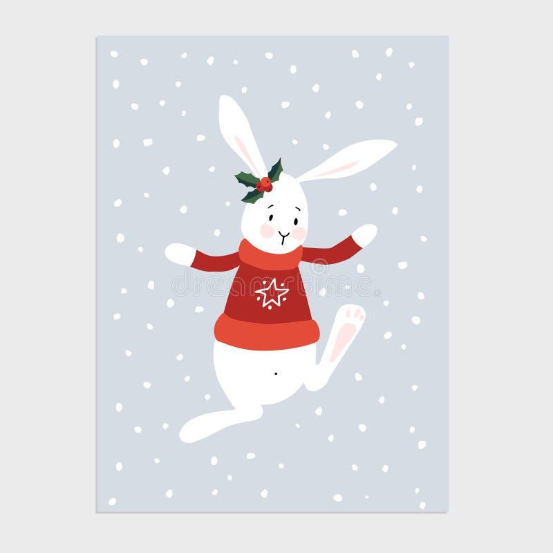 Tradycyjni boże narodzenia, nowego roku kartka z pozdrowieniami, zaproszenie Wręcza patroszoną ilustrację śliczny królik, królik  ilustracja wektor