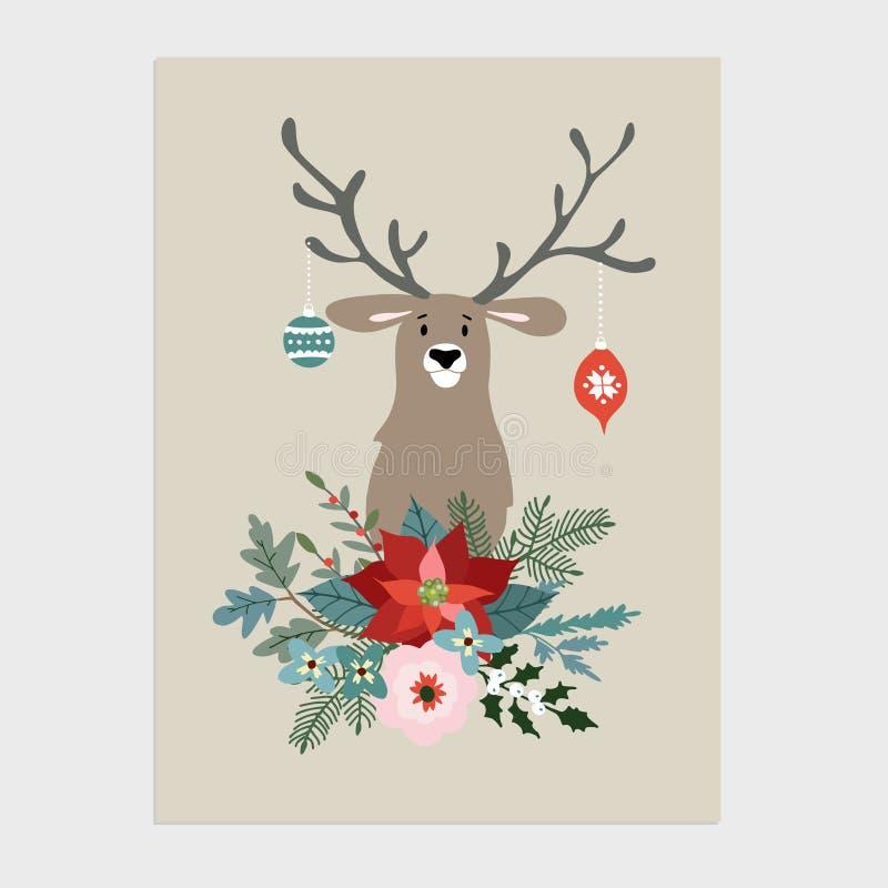 Tradycyjni boże narodzenia, nowego roku kartka z pozdrowieniami, zaproszenie Wręcza patroszoną ilustrację renifer z Bożenarodzeni royalty ilustracja