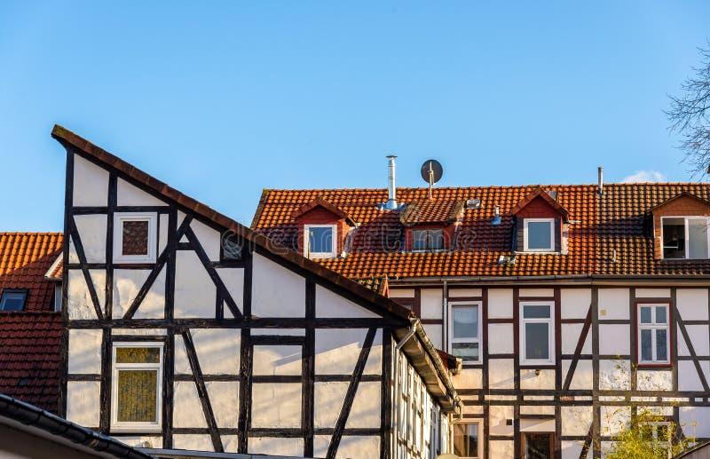 Tradycyjni cembrujący budynki w Gottingen, Niemcy - fotografia stock