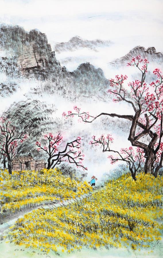 Tradycyjni Chińskie obraz, krajobraz royalty ilustracja