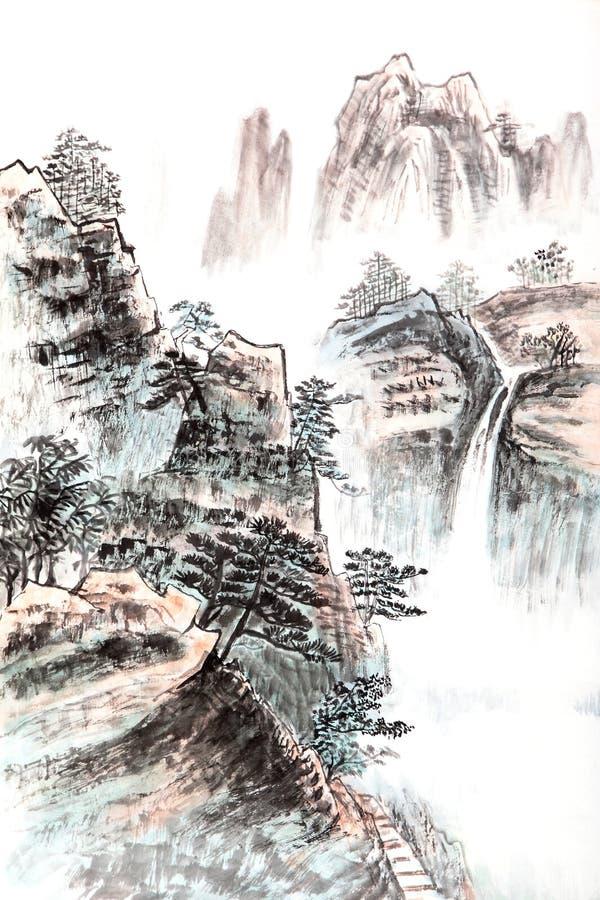 Tradycyjni Chińskie obraz, krajobraz ilustracja wektor