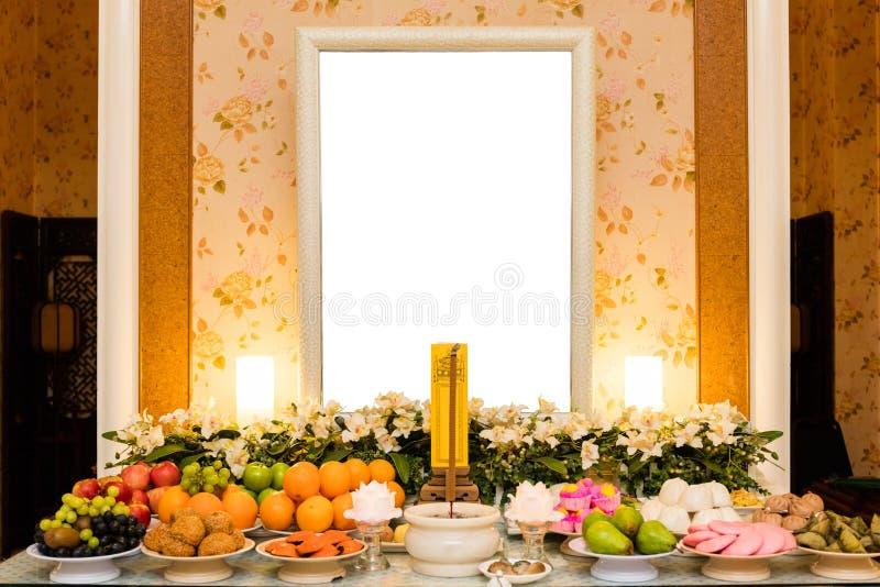 Tradycyjni Chińskie Opłakuje Hall z pustą fotografii ramą zdjęcie royalty free