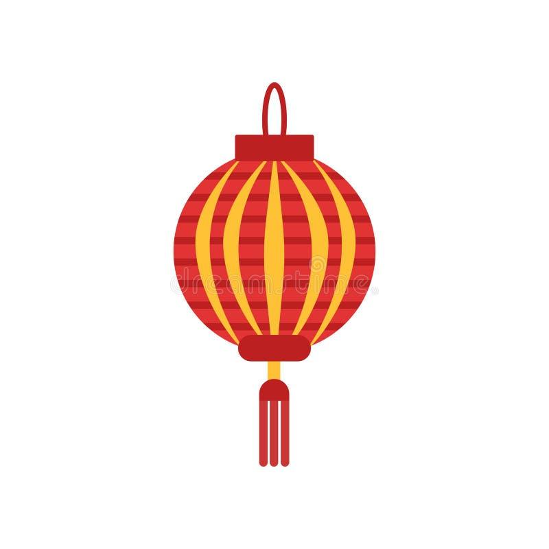 Tradycyjni chińskie papierowy lampion z małą kitką Lampa w round kształcie Ikona w czerwieni i pomarańcze kolorach Płaski wektor ilustracji