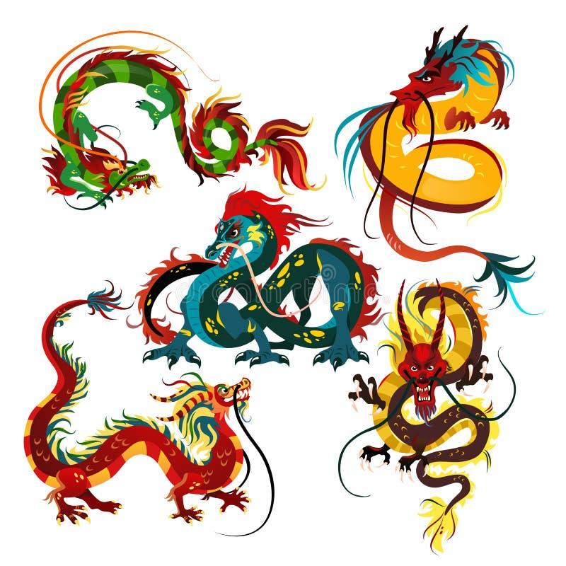 Tradycyjni chińskie smok, antyczny symbol azjatykcia lub porcelanowa kultura, dekoracja dla nowego roku świętowania, mitologia ilustracji