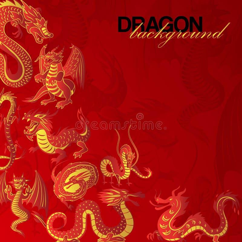 Tradycyjni chińskie smoka tła sztandaru wektoru czerwona ilustracja Legendarne istoty Chińska mitologia _ royalty ilustracja