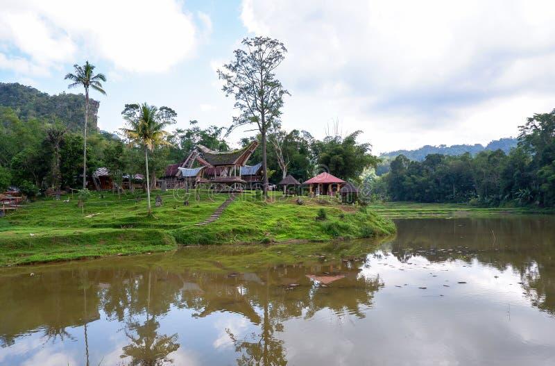 Tradycyjni domy przy Kete Kesu wioską, Taniec Toraja, Sulawesi zdjęcie royalty free