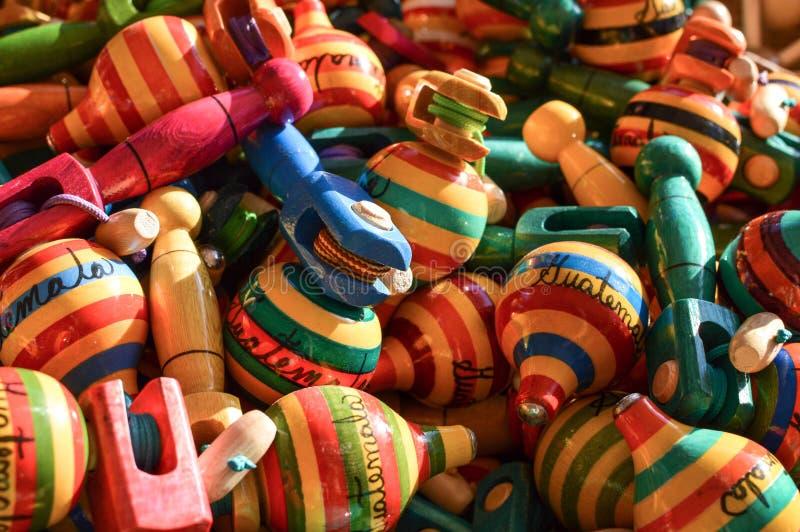 Tradycyjni drewniani rękodzieła robić majowie ludźmi w Antigua, Gwatemala obraz stock