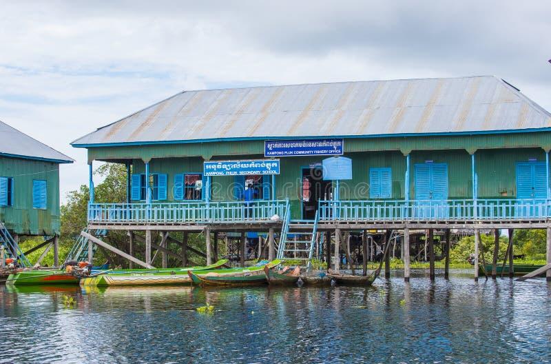 Tradycyjni drewniani stilt domy w Tonle aproszy jeziorze Kambodża obrazy stock