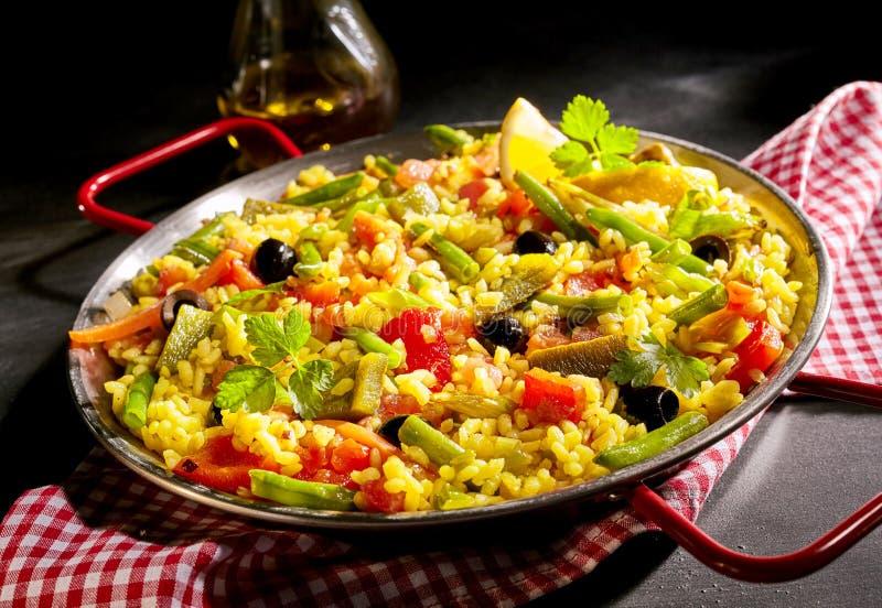 Tradycyjni Hiszpańscy paella verduras obrazy royalty free