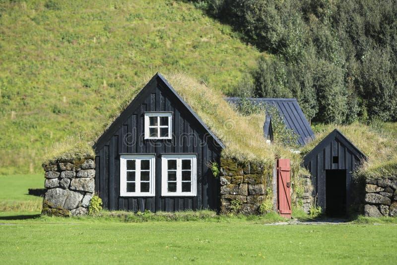 Tradycyjni icelandic domy w Skogar Ludowym muzeum, Iceland zdjęcie royalty free