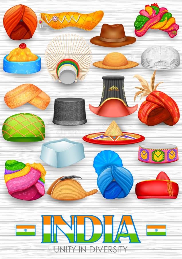 Tradycyjni Indiańscy kłobuki ilustracji